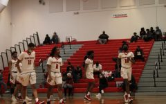 Kirkwood players walk onto the floor at the start of the second half.