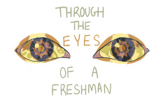These eyes tell a story when you observe them closely. If you look in the reflection of the eye you can see some of the things that freshmen have missed out on this year due to COVID-19 including: Watching school sports, pep rallies, assemblies and exen meeting new people  and having conversations.