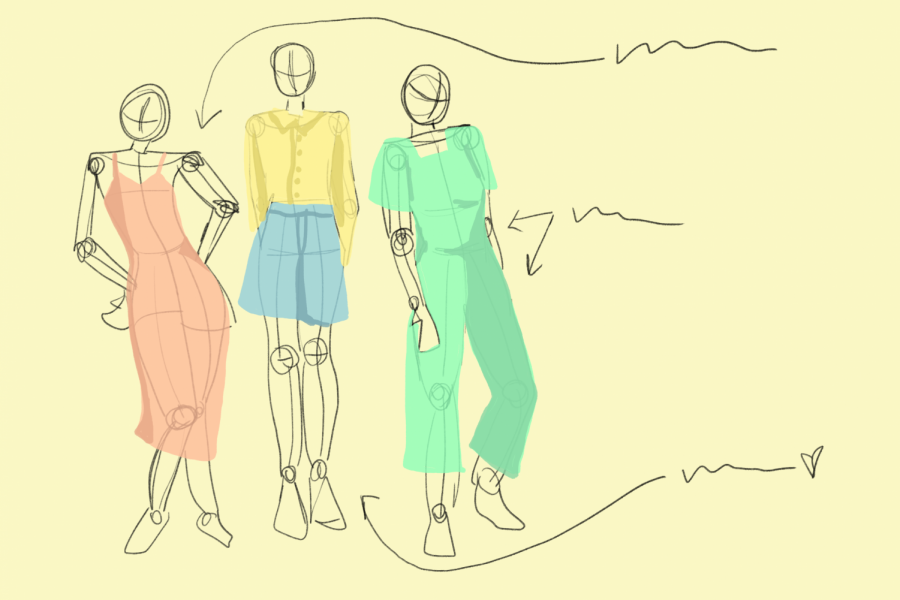 The first step to garment making is creating a sketch. This is shown up above of what a sketch might look like.