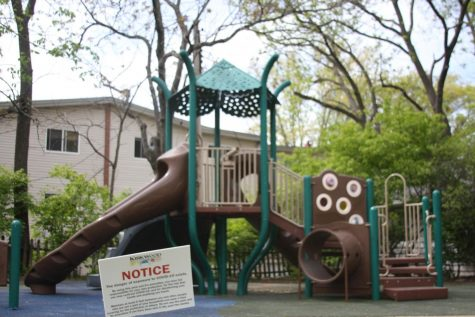 The Walker Park playground does not have caution tape any longer, only a COVID sign remains.
