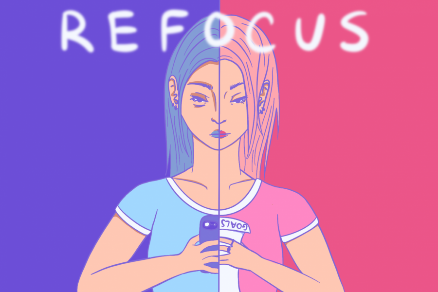 On the left side of the image, the girl is looking at her phone. On the right side, she is looking at her list of goals. The cool colors on the left half portray a gloomier feeling vs. the warm tones on the right half.