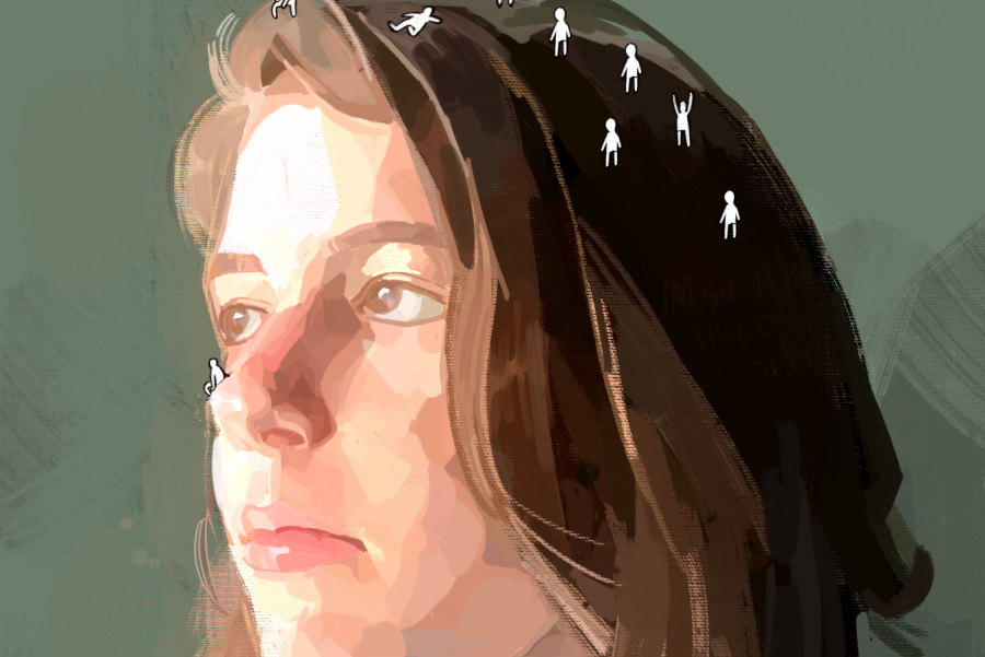 In this piece, I wanted to convey my own self-reflection through a self-portrait.