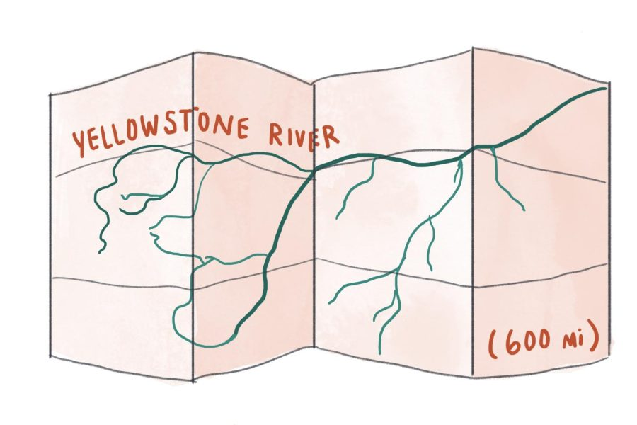 The map of Juddahs canoe route down the Yellowstone river.