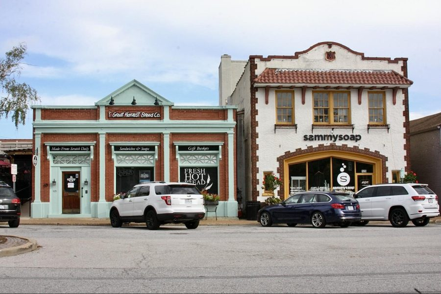 Contrasting colors are captured between two shops in downtown Kirkwood.