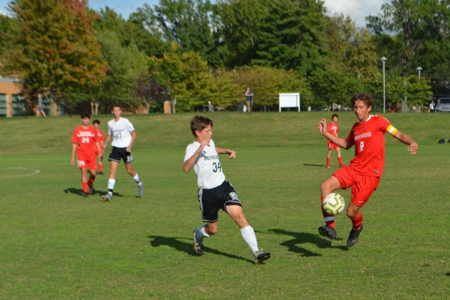 Kirkwood steals the soccer ball from Mehlville shortly after a close goal.